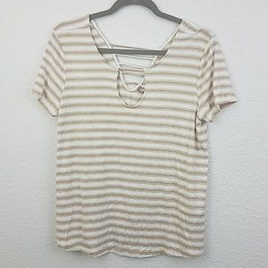 Pink rose Vintage sz L striped tshirt keyhole neck